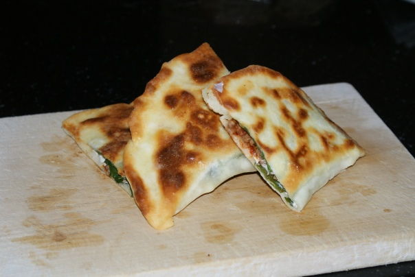 Gozleme of Lamb,mint, fetta and spinach.